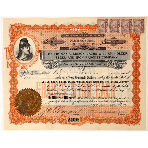Edison Jr. Signed Steel Processing Company Stock Certificate  [128269]