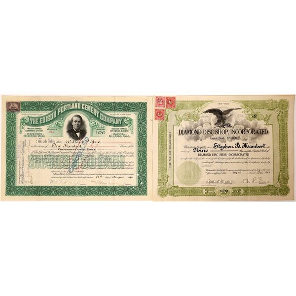 Two Thomas Edison related Stock Certificates  [130189]