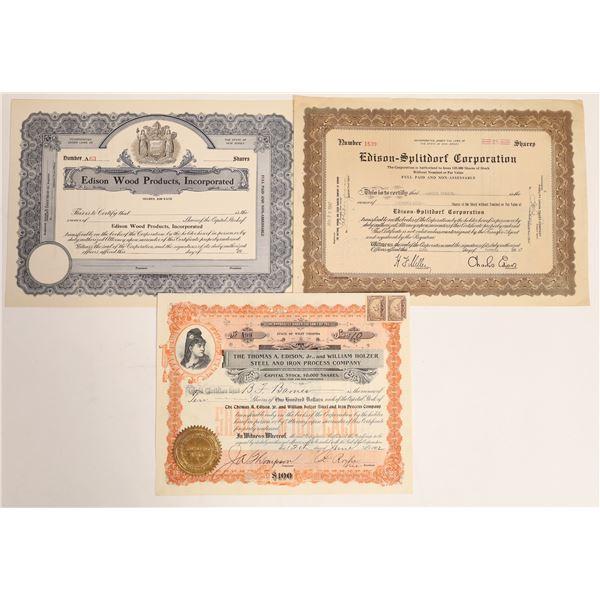 Edison Companies Stock Certificates (3)  [127983]