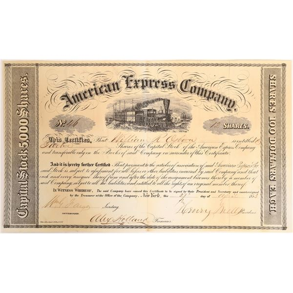 Earliest Known American Express Stock Certificate, #46  [132742]