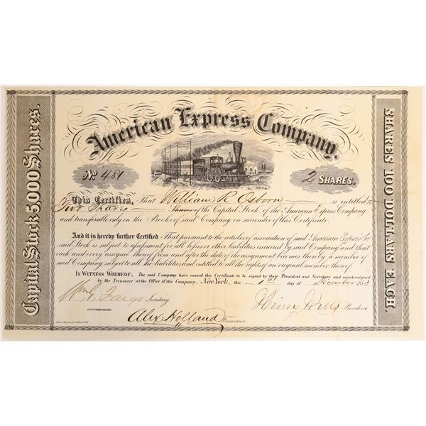 American Express Stock Certificate #481, Period 1, 1853, Spectacular Condition  [132740]
