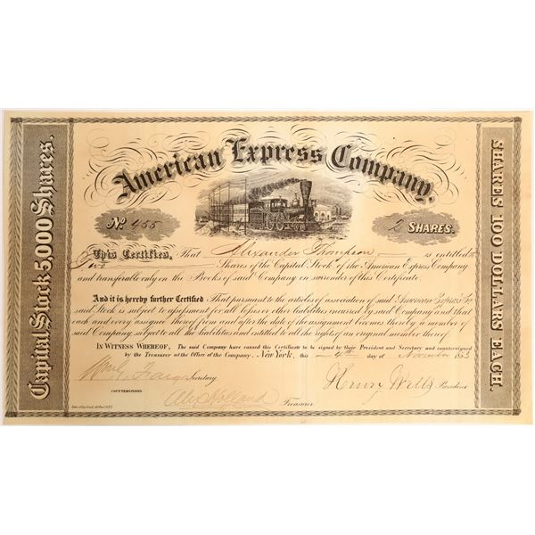 Early American Express Stock Certificate, Period 1, Nov. 1853  [132741]