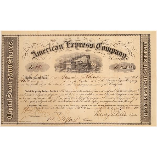 American Express Co. Stock Certificate (Wells, Fargo, Holland Signatures)  [134073]