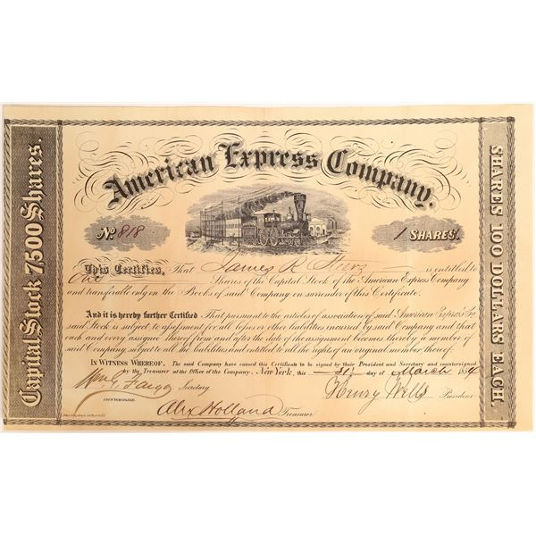 American Express stock Certificate Signed by Wells and Fargo  [132690]