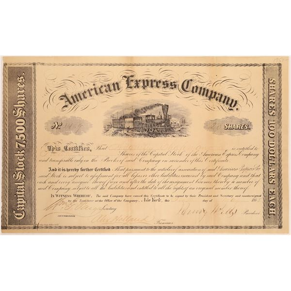 American Express Company Stock Certificate (Wells, Fargo, Holland Signatures)  [134074]
