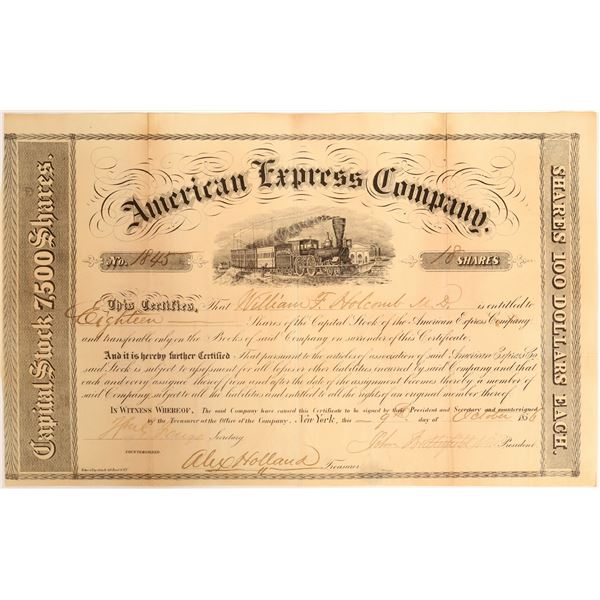 American Express Stock Certificate Signed by Butterfield and  Fargo  [132692]