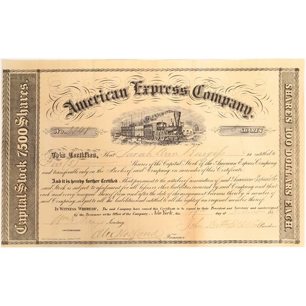 American Express Stock Certificate Signed by Butterfield and Fargo.   [132693]