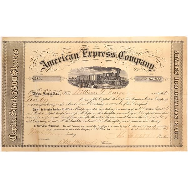 William G Fargo Twice Signed American Express Certificate  [132747]
