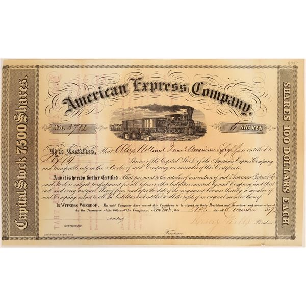 American Express Co. Stock Certificate Issued to Holland (Wells Signature)  [134076]