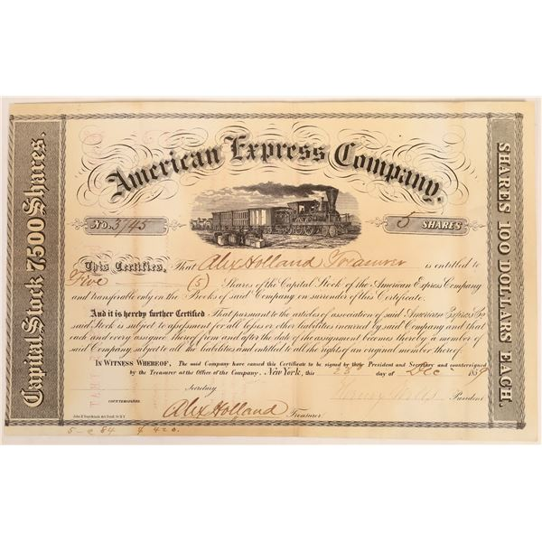 American Express Co. Stock Certificate Issued to Holland (Wells, Holland Signatures)  [134072]