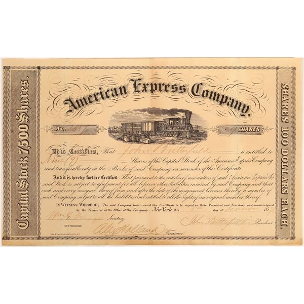 American Express Co. Stock Issued to Butterfield (Fargo, Butterfield, Holland Signatures)  [134071]
