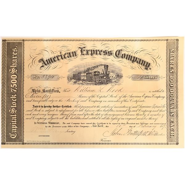 American Express Stock Certificate signed by John Butterfield and William Fargo  [132695]