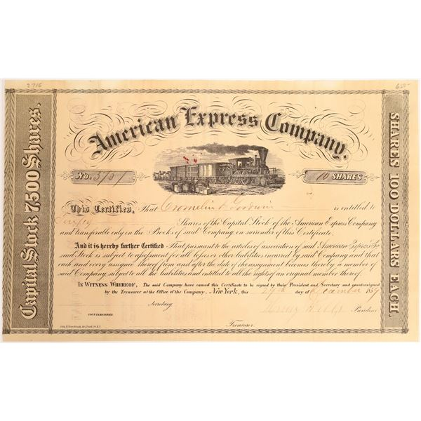 American Express Stock Certificate, Henry Wells Autograph, Type 2F  [132699]