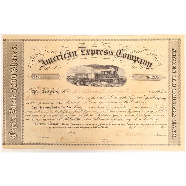 American Express Stock Certificate Signed by John Butterfield and William Fargo  [132697]