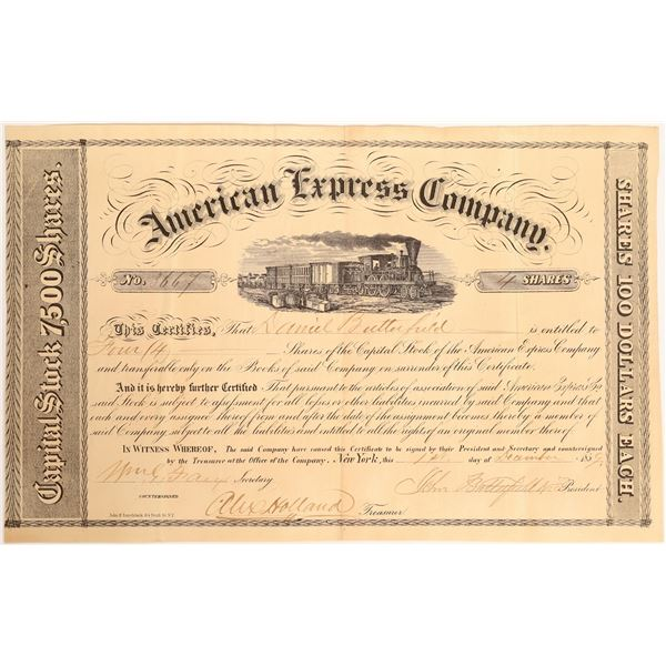 American Express Stock Certificate Signed by John Butterfield and William Fargo  [132698]