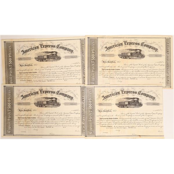Four Unissued American Express Stock Certificates from the 1850s  [132744]