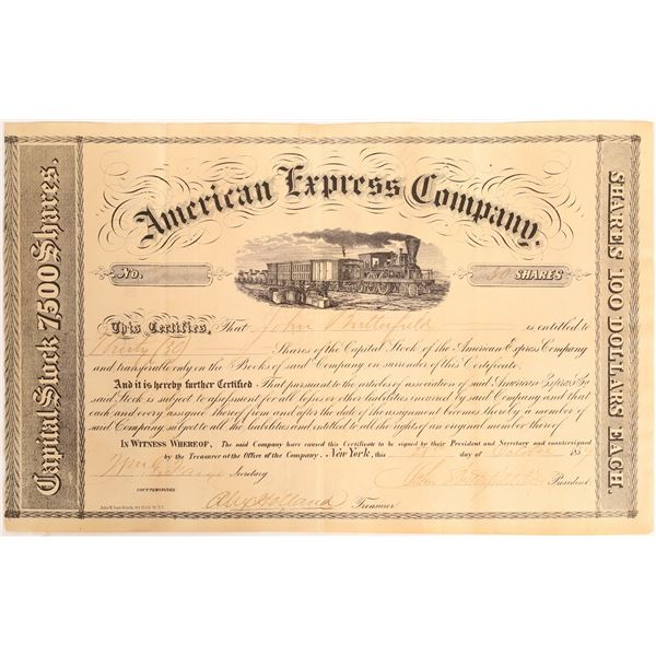 John Butterfield Issued and Twice Signed American Express Certificate  [132746]