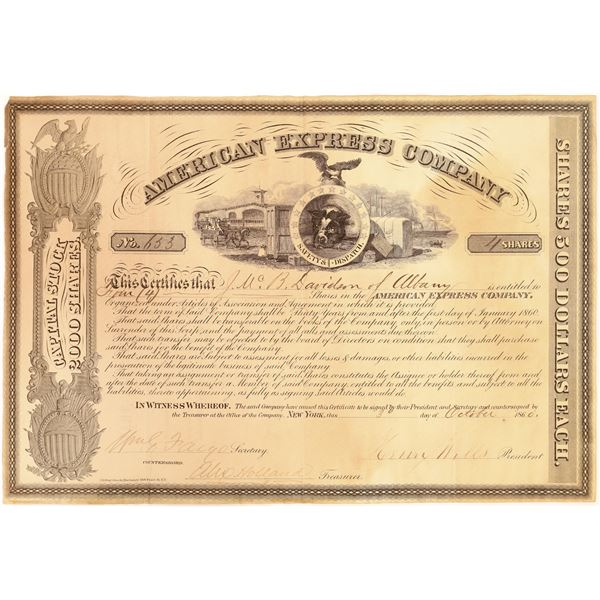 American Express Certificate Type III Signed by Wells, Fargo, and Holland  [132749]