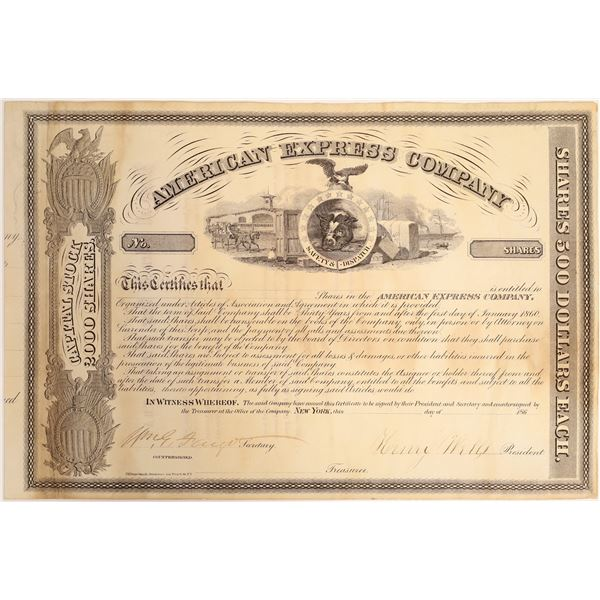 American Express certificate signed by Henry Wells and William G Fargo  [132701]