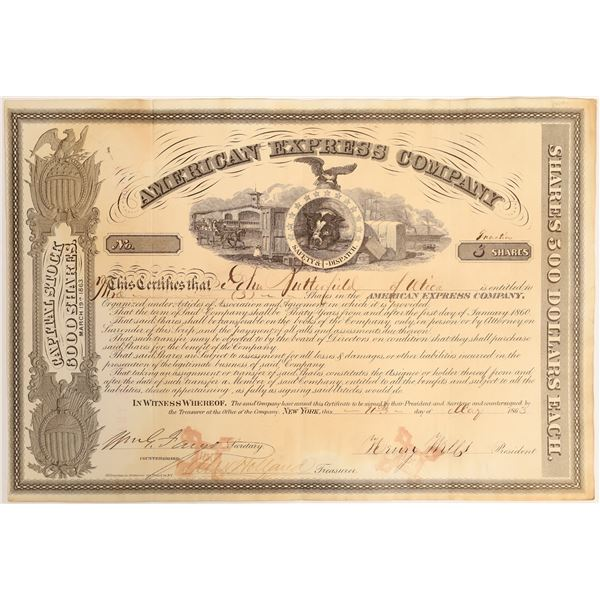 American Express Certificate with Autographs of the Three Founders: Butterfield, Wells, and Fargo  [