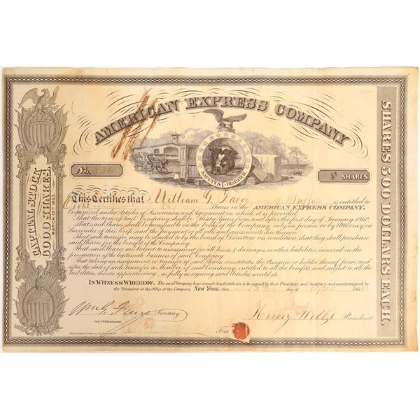 American Express stock certificate issued to William G Fargo, signed by Wells and Fargo.   [132702]
