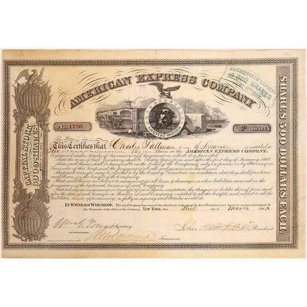 American Express Co. Stock Certificate (Butterfield, Fargo, Holland Signatures)  [134075]