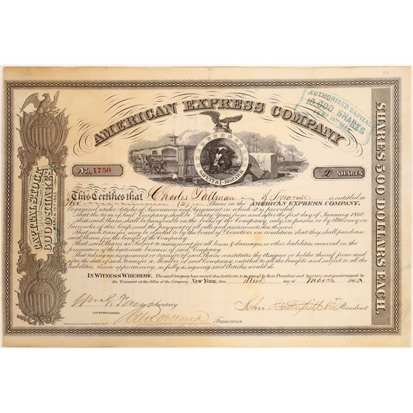 American Express Co. Stock Certificate (Butterfield, Fargo, Holland Signatures)  [134075]