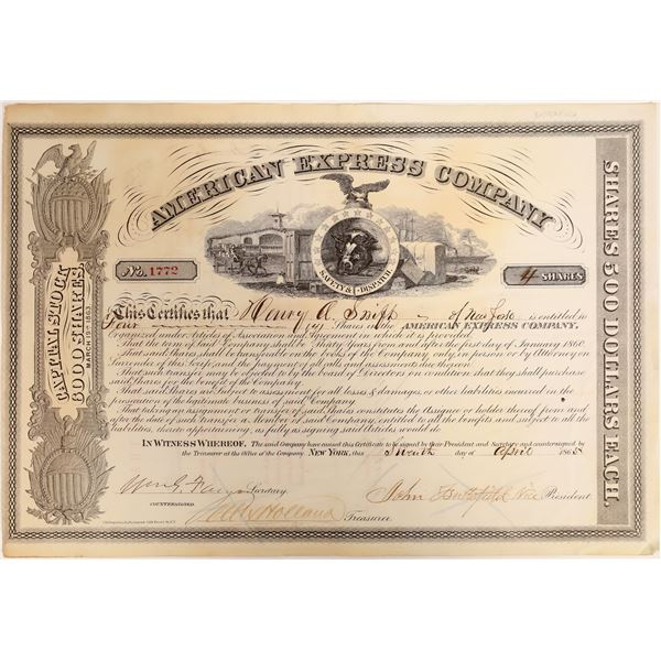 Rare Butterfield Signature on American Express Company Stock Certificate  [132704]