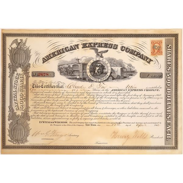 American Express Co. Stock Certificate Signed by Wells and Fargo  [134070]
