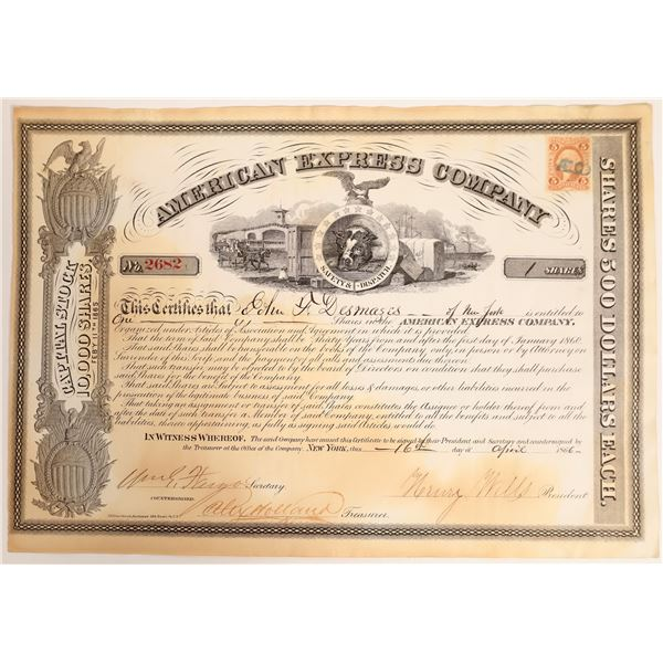 American Express Company Stock Certificate Type VI, Wells and Fargo Signatures  [132707]