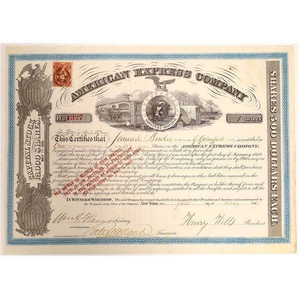 American Express stock certificate, type VII, signed by Wells and Fargo.   [132708]