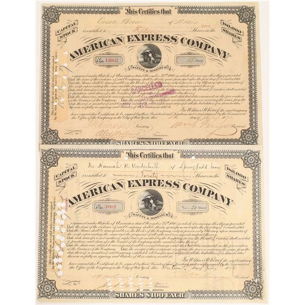 American Express stock certificates, type VIII, two different variants, one signed by William Fargo,