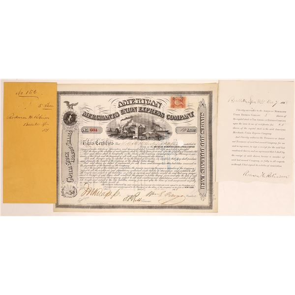American Merchants Union Express Co. Stock Certificate Signed by Fargo  [134069]
