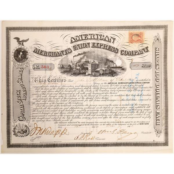 William Fargo and Thomas Fargo Autograph on American Merchants Union Express Stock Certificate  [132