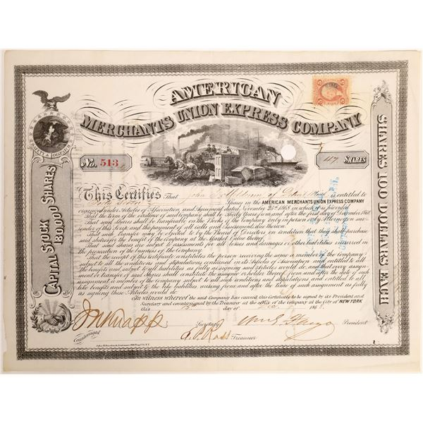 William Fargo and Thomas Fargo Autograph on American Merchants Union Express Stock Certificate  [132