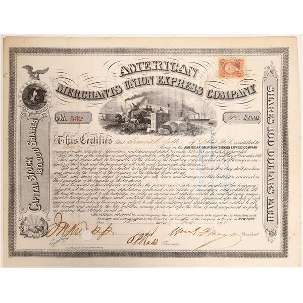 William G Fargo and JC Fargo Autograph on American Merchants Union Express Company   [132727]