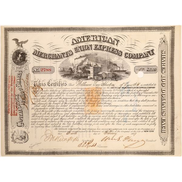 American Merchants Union Express Co. Stock Signed by Fargo, Revenue Imprinted  [134068]