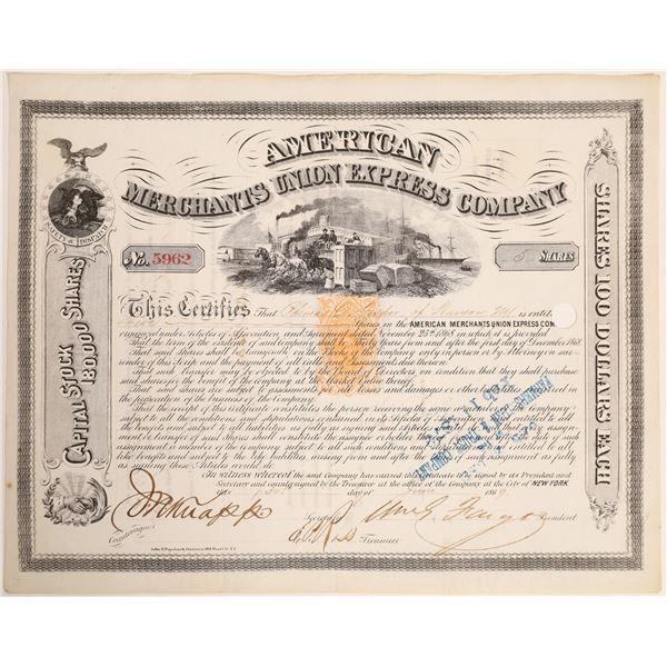 William G Fargo Signed American Merchants Union Express Company Stock Certificate   [132720]