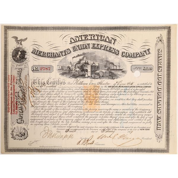 William G Fargo signed American Merchants Union Express Company Stock Certificate.  [132721]