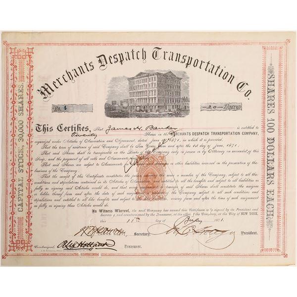 Merchants Dispatch Transportation Company Stock: James Fargo Sig., Vanderbilt Connection  [132724]