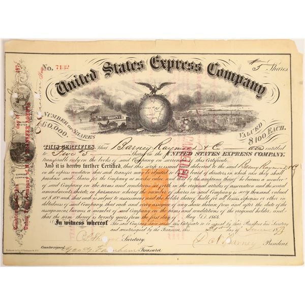 United States Express Company Stock Certificate issued to Barney  [132723]