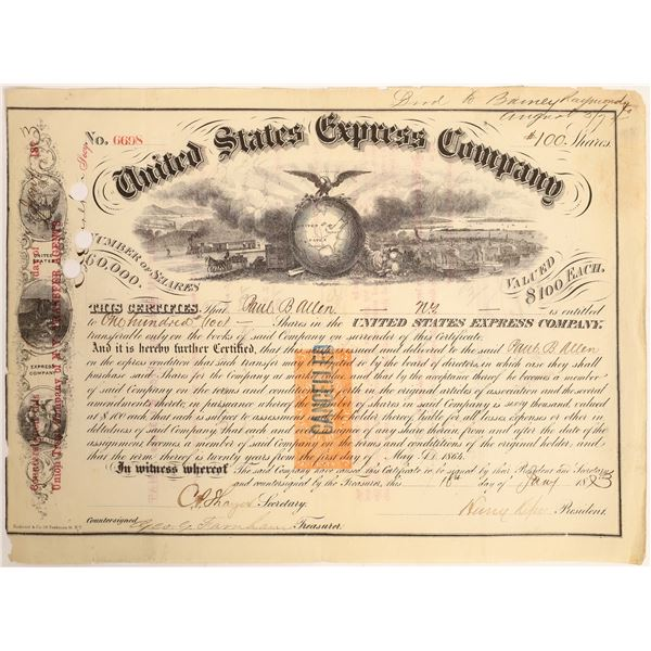 United States Express Company Stock Certificate with Rare Q1 Imprinted Revenue Stamp  [132722]
