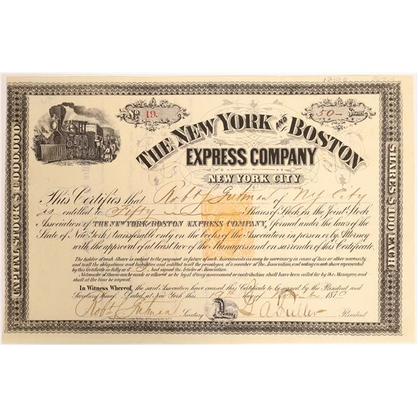 New York and Boston Express Co. Stock Certificate with Rare 25c Imprint Revenue at center   [132730]