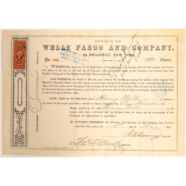 Wells Fargo Company, Omaha Treaty Stock Certificate, 1870 issued to Wells  [132710]