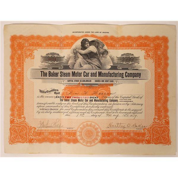 Baker Steam Motor Car & Manufacturing Stock Certificate  [131870]