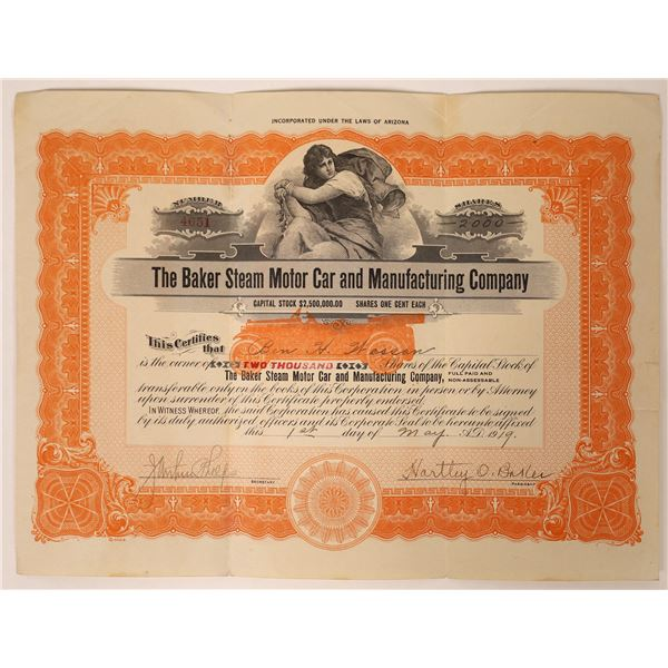 Baker Steam Motor Car & Manufacturing Stock Certificate  [131870]