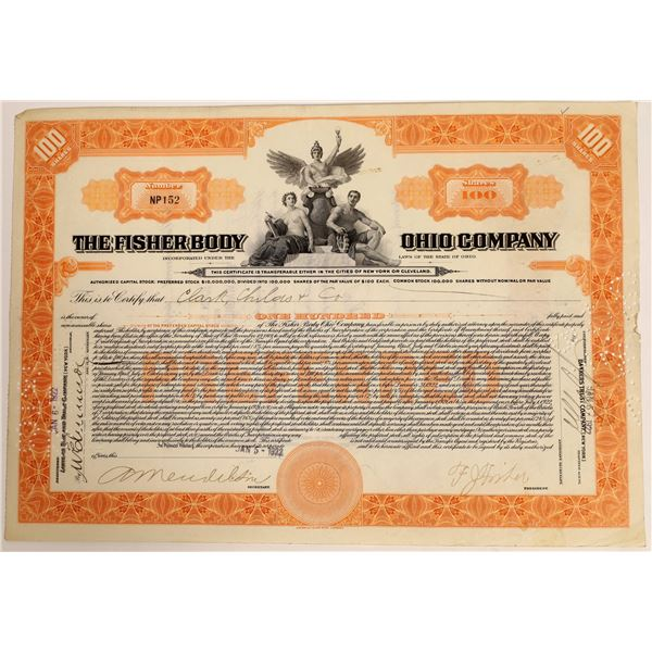 Fisher Body Ohio Stock Certificate Signed by F.J. Fisher  [111874]