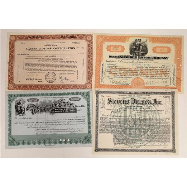 Automobile Stock Certificate Group Including Early Packard Forerunner (4)  [111865]
