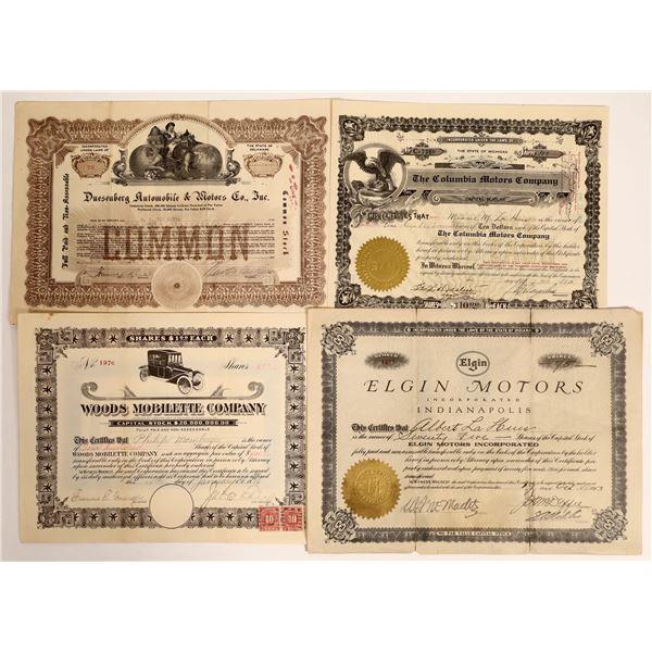 Four early 1900's Automobile Stocks: Duesenberg, Woods, Elgin, Columbia  [130164]