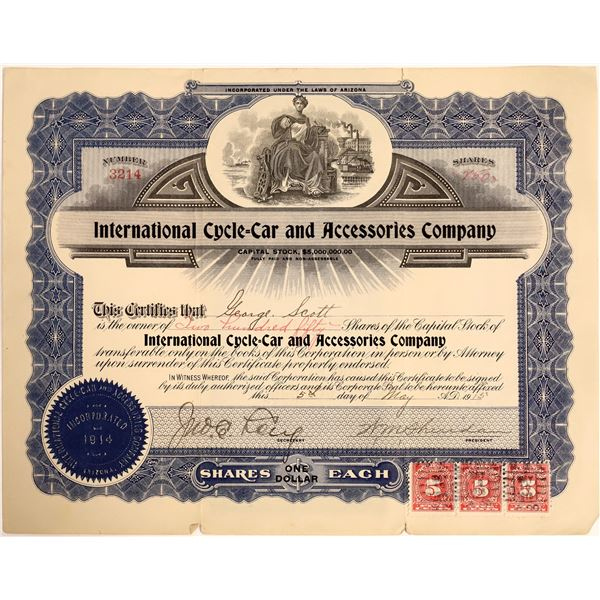 International Cycle Car & Accessories Company Stock, 1915  [111894]